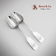 Fiddle Tablespoons Coin Silver Evenard Benjamin Co 1830