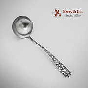 Bird Scroll Embossed Sauce Ladle Sterling Silver JB SM Knowles 1880