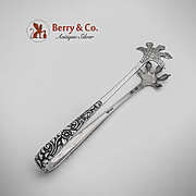 Floral Scroll Ice Tongs Indonesian 800 Silver Jogya 1930