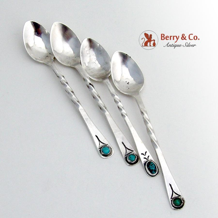 Navajo twist handle demitasse spoons sterling silver turquoise 4 from berrycom com flatware on - Twisted silverware ...