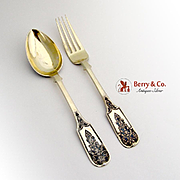 Russian Imperial Ornate Table Fork Tablespoon Russian 84 Standard Silver Gilt Niello 2 Pieces Gubkin 1855