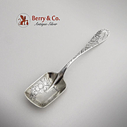 Aesthetic Engraved Number 38 Rectangular Sugar Spoon Sterling Silver Towle 1880