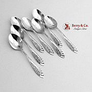 Aesthetic Floral Wing Demitasse Spoons Sterling Silver 7 Pieces Towle 1890