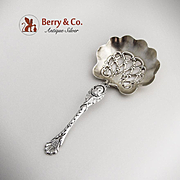 Baby Face Shell Candy Nut Spoon Sterling Silver Whiting 1885