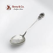 Ornate Teaspoon Sterling Silver Enamel c.1890