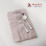 Mignonette Baby Set Fork and Spoon Sterling Silver Lunt 1960
