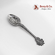 Palm Tree Souvenir Spoon Native Huts Philippine Islands Sterling Silver