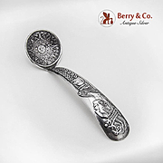 Vintage Small Ladle Aztec Calendar Indian Bust Decorated Handle Sterling Silver Mexico Eagle 2 Mark