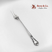 Chantilly Two Tine Butter or Pickle Fork Sterling Silver Gorham Silversmiths 1895