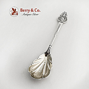 Medallion Sugar Spoon Shell Bowl Sterling Silver Gorham Silversmiths 1864