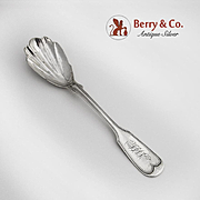 Fiddle Thread Sugar Shell Spoon Sterling Silver 1870