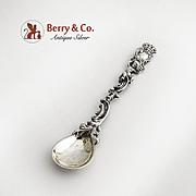 Ornate Baroque master Salt Spoon 800 Silver Cherub Decoration Germany 1890