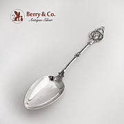 Medallion Table Serving Spoon Sterling Silver 1870