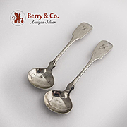 Master Salt Spoons 2 Coin Silver 1860 Bard and Lamont