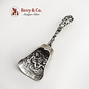 Ornate Tea Caddy Spoon Cherub Decorations 800 Silver Germany 1900