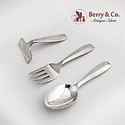 Tiffany Cordis Three Piece Baby Flatware Set Baby Spoon Fork Food Pusher Sterling Silver