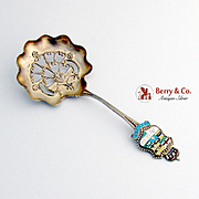 Canadian Souvenir Bon Bon Candy or Nut Spoon Sterling Silver 1900 Enamel