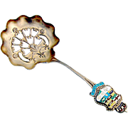 Canadian Souvenir Bon Bon Candy or Nut Spoon Sterling Silver 1900 Enamel