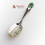 Jacksonville FL Souvenir Spoon Sterling Silver Enamel 1900