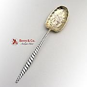 Oval Twist Bright Cut Sugar Spoon Sterling Silver Whiting Silversmiths 1880