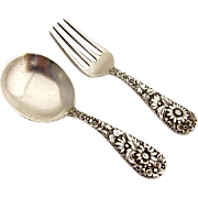 Repousse Baby Flatware Set Spoon Fork Sterling Silver Kirk and Son