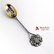 Dieu Et Mon Droit Souvenir Spoon Sterling Silver Birmingham 1908