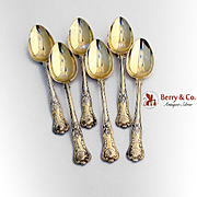 Set of 6 Gilt Kings Dessert Spoons 800 Silver Germany 1880 Netter