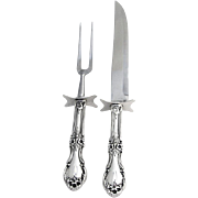 Wild Rose Roast Carving Set 2 Pieces Sterling Silver International 1948
