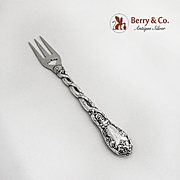 Ornate Pickle Fork Coin Silver 1860 Grape Vine Handle