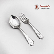 Baby Flatware Set Spoon and Fork Lunt William and Mary Sterling Silver 1921