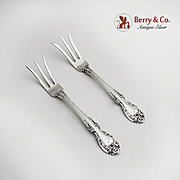 Pair of Lemon Forks Sterling Silver Melrose Gorham Silversmiths 1948