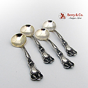 Art Nouveau Set of 4 Salt Spoons Sterling Silver Baker Manchester 1900