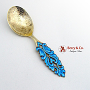 Ornate Sugar Spoon Open Work Blue Enamel Sterling Silver Aksel Holmsen 1930 Norway