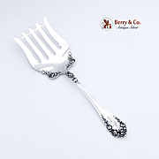 Rose Asparagus Serving Fork Wallace Sterling Silver 1888
