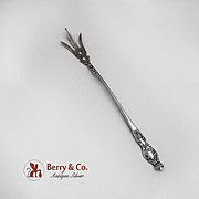 Lettuce Fork Sterling Silver Crown Finial c.1900