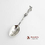 Vintage Mormon Temple Salt Lake Souvenir Spoon Sterling Silver Moroni