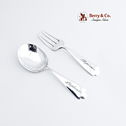 Baby Flatware Set Sterling Silver Monogram Stephanie