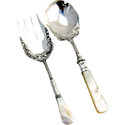 Vintage Serving Fork and Spoon Mother of Pearl Handles 1900