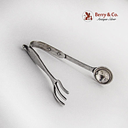 Arts and Crafts Sugar Tongs Hand Made Sterling Silver