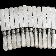 Vintage Set of 12 Knives Mother of Pearl Handles Sterling Shanks 1890