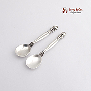 Jensen Acorn Pair of Individual Salt Spoons Sterling Silver Georg Jensen