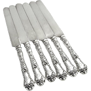 Set of 6 Poppy Dinner Knives Sterling Silver Gorham 1902