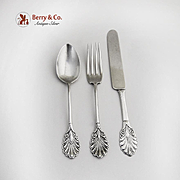 Gorham Grecian Youth Set Knife Fork Spoon Sterling Silver Patent 1861