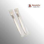 Georg Jensen Cactus Cocktail Oyster Forks Pair Sterling Silver New