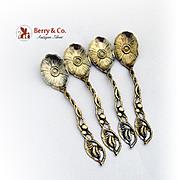 Art Nouveau Wallace Floral Spoons Sterling Silver Gilt 1900