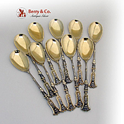 Vintage 10 Egg Spoons 800 Silver 1890
