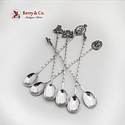 Figural Finial 6 Iced Teaspoons 800 Silver Germany