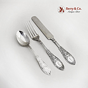 Whiting Arabesque Youth Set Spoon Fork Knife Pat 1875 Sterling Silver