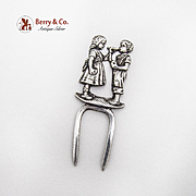 Figural Small Serving Fork Boy Girl German 800 Silver 1900