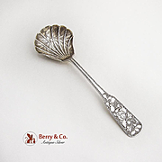 Chinese Sugar Spoon Bamboo Bowl Floral Moth Handle Sterling Silver 1900